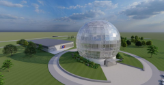 Rendering of the proposed Foxconn network operations center (glass sphere) and data center