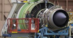 GE engine for a Boeing 777 airliner at the Boeing Factory in Everett, Washington