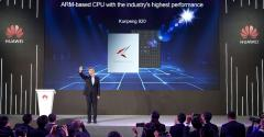 William Xu, Huawei board director and chief strategy marketing officer unveils the company's Arm-based server CPU Kunpeng 920.