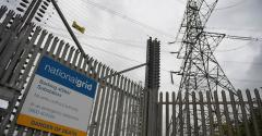 Electricity pylons at National Grid's Barking Substation in east London