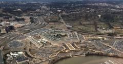 The Pentagon, the headquarters of the US Department of Defense, located in Arlington County, across the Potomac River from Washington, DC
