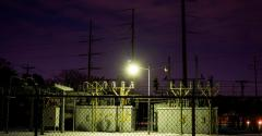 An Oncor power substation is surrounded by snow in Waco, Texas, on February 18, 2021.