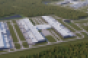 Rendering of Facebook's Newton, Georgia, data center campus, including the first phase and the planned second phase.