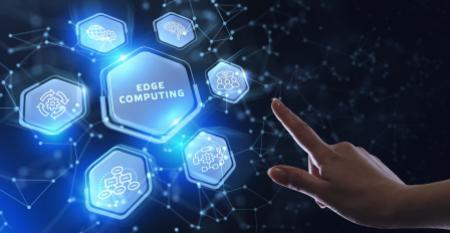Edge computing modern IT technology on virtual screen.