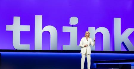 IBM CEO Ginni Rometty delivers a keynote address at IBM Think 2019 in San Francisco.