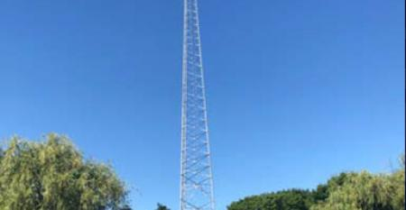 The communications tower on CyrusOne's Aurora, Illinois, data center campus, home to the computing infrastructure of CME Group.