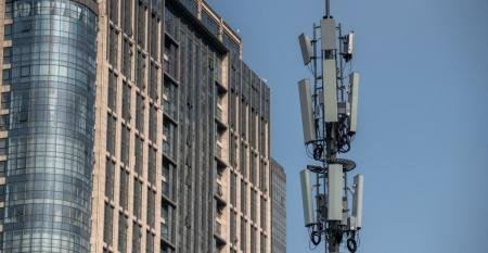 Cell tower with 5G network equipment in Beijing (2020)