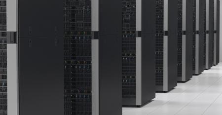 Dell EMC racks in a data center