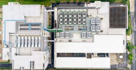 The roof of a Google data center in Singapore