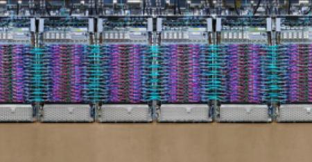 Row of liquid-cooled TPU 3.0 pods inside a Google data center