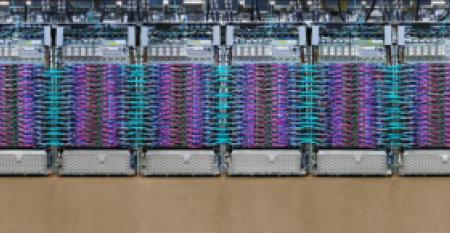 Row of liquid-cooled TPU 3.0 pods inside a Google data center