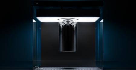 A rendering of IBM Q System One, the world's first fully integrated universal quantum computing system, currently installed at the Thomas J Watson Research Center in Yorktown Heights, New York, where IBM scientists are using it to explore system improvements and enhancements that accelerate commercial applications of the technology.
