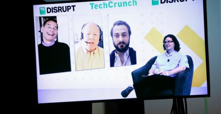 (L-R) CEO of D-Wave Alan Baratz, President and CEO of IonQ Peter Chapman, CEO and Co-founder of Quantum Machines Itamar Sivan, and News Editor at TechCrunch Frederic Lardinois are seen onscreen during TechCrunch Disrupt 2020.