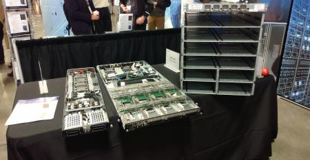 "Open19 server ""bricks"" and a brick cage on display at the Open19 Foundation Summit 2019"