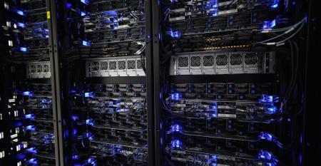 Racks of servers inside a Rackspace data center