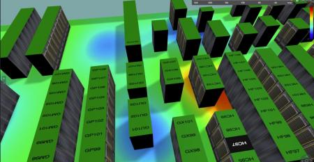 Visualization of a data center floor by QTS's 3D Mapper tool, part of its Service Delivery Platform