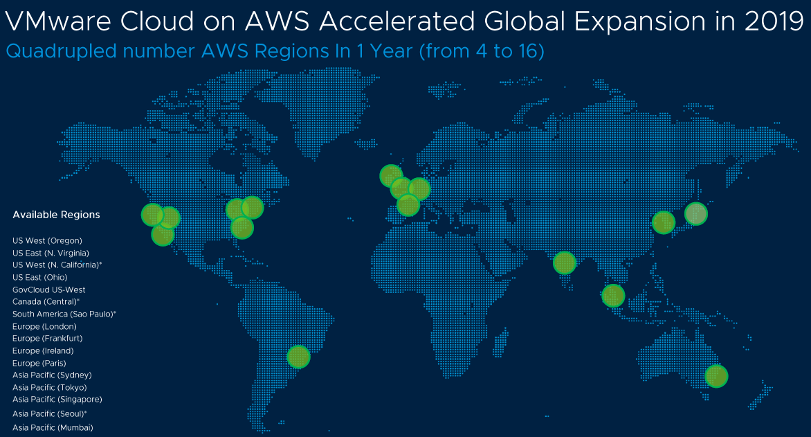 VMware Cloud on AWS availability regions as of August 2019
