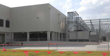A photo of Google's data center in Goose Creek South Carolina, showing lighted