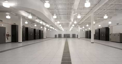 A look at finished data center space inside the DuPont Fabros CH1 data center in Elk Grove Village, Ill., where Rackspace Hosting has leased 36,700 square feet of space.