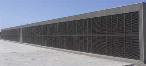 Metal louvers line the side of the Advanced Data Centers facility in Sacramento, Calif.