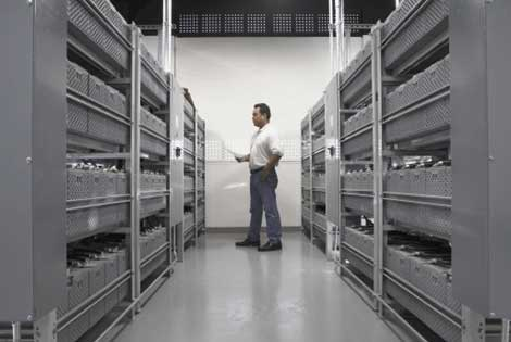 A look at the battery room in the Switch and Data PAIX data center in Palo Alto, Calif.
