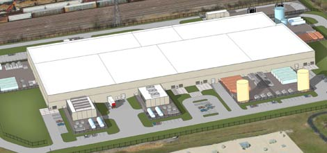 A rendering of the Ascent Corp. CH2 data center, showing different types of power and cooling infrastructure in series of dedicated customer equipment yards ringing the exterior of the facility.