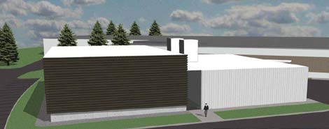 An artist rendering of the exterior of a new data center IBM will build and equip at Syracuse University.