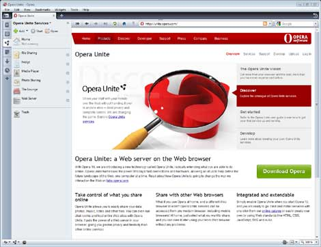 A look at the Opera Unite interface. The newest version of the browser includes a web server.