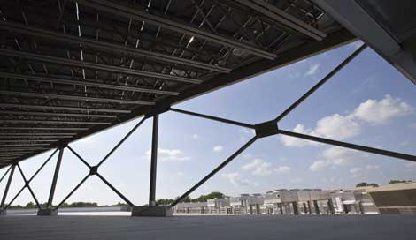 The view from under the solar array, which faces south and is angled to capture sunlight.