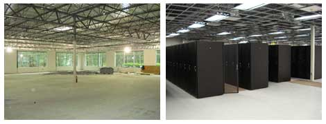 Before and after views of the new NationalNet data center near Atlanta.