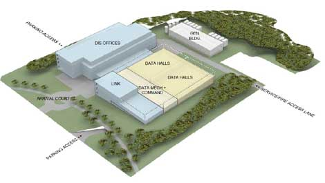 A concept drawing for the planned $300 million data center to house IT operations for the State of Washington.