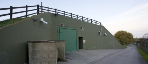 The entrance to an ultra-secure data center operated by The Bunker in Kent, UK.