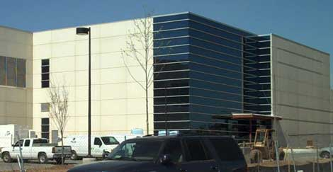 The exterior of the DuPont Fabros Technology ACC5 data center in Ashburn, Va. during construction earlier this year. Facebook has pre-leased additional space in the facility.