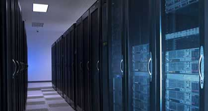 The racks inside a Perot Systems data center in Plano, Texas. Perot Systems is being acquired by Dell for $3.9 billion.