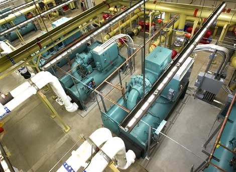 An overhead view of the chiller plant at RagingWire Enterprise Solution in Sacramento, Calif.