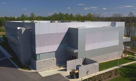 The exterior of the new NetApp data center in Research Triangle Park, North Carolina.