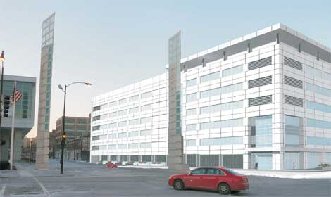 A design concept for a six-story, 300,000 square foot data center in Chicago proposed by McHugh Construction.