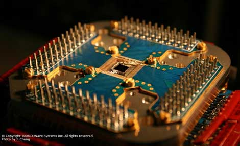 A view of an earlier version of D-Wave qubit processor (Photo by J. Chung, D-Wave Systems Inc.).