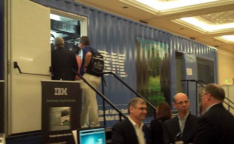 Attendees at the Gartner Data Center Conference tour the IBM Portable Modular Data center (PMDC) on display on the expo floor Tuesday at Caesar's Palace in Las Vegas.