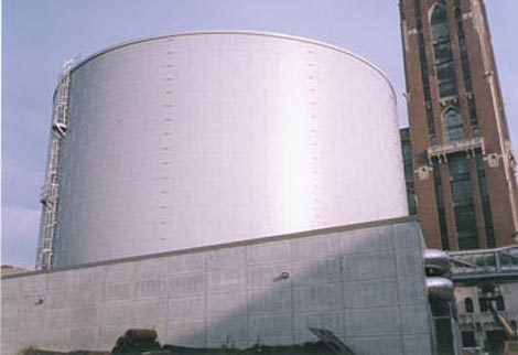 The 8 million gallon tank providing thermal energy storage for McCormick Place and a nearby Digital Realty Trust data center building (seen in background).