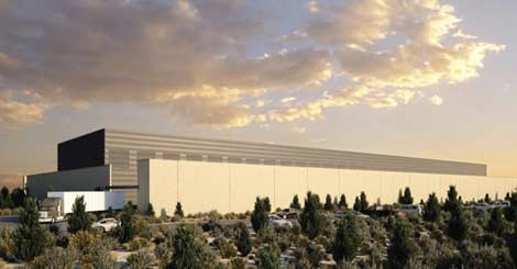 An architectural rendering of the new Facebook data center planned for Prineville, Oregon.