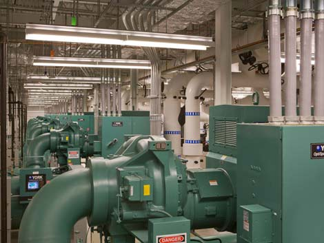 A look at some of the chiller infrastructure at the DuPont Fabros Technology CH1 data center near Chicago, which provides more than 16,000 tons of cooling capacity.