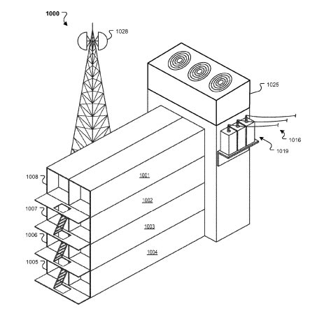 An image from a Google patent depicting a stack of data center containers.