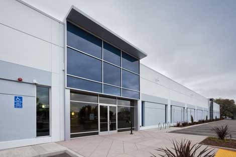 A closer look at the exterior of the new Vantage Data Centers' facility in Santa Clara, Calif.