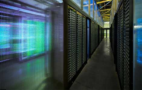 Rows of servers inside the new Facebook data center in Prineville, Oregon.