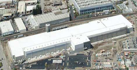 An aerial view of the new DuPont Fabros data center in Santa Clara, Calif.