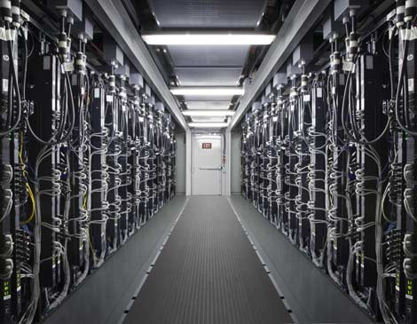 A look inside one of HP's latest designs for its Performance Optimized Datacenter (POD). Airbus just deployed two PODs for a supercomputing cluster in Europe.