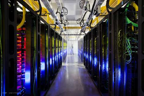 Rows of networking equipment inside a Google data center in Council Bluffs, Iowa. Monday's Gmail outage was attributed to a software update that caused performance problems for network load balancers. (Photo for Google by Connie Zhou)