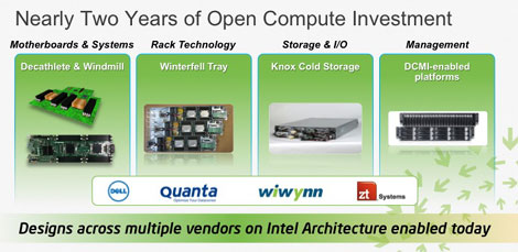 Motherboards, storage, racks and management technologies are all running on Intel architecture, with multiple vendors.