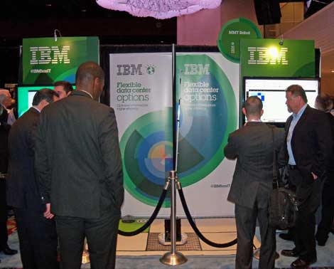 IBM had a substantial presence on the expo floor ato DatacenterDynamics Converged, complete with a rug featuring perforated tiles. (Photo: Rich Miller)